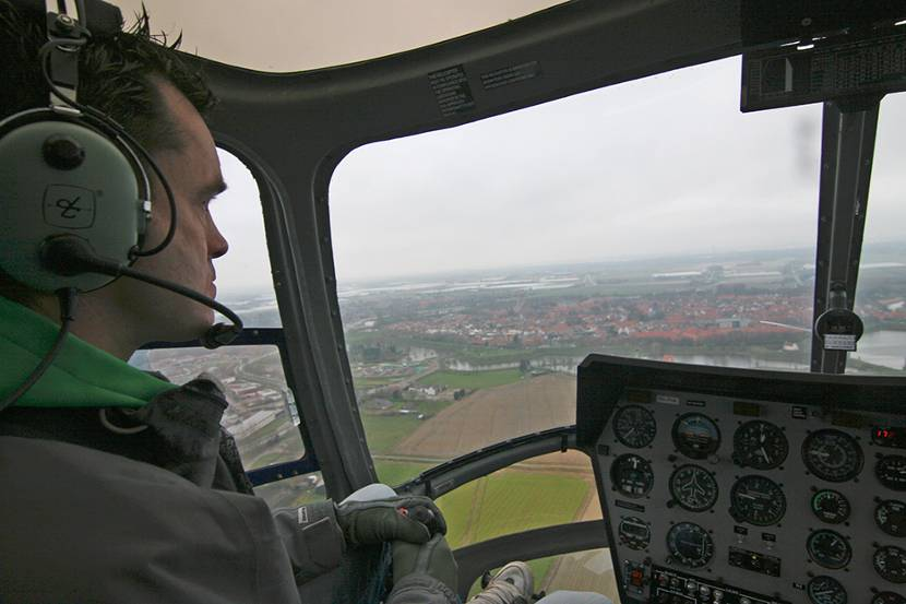 man in helicopter